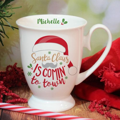 Personalised Santa Claus Is Coming To Town Marquee Mug